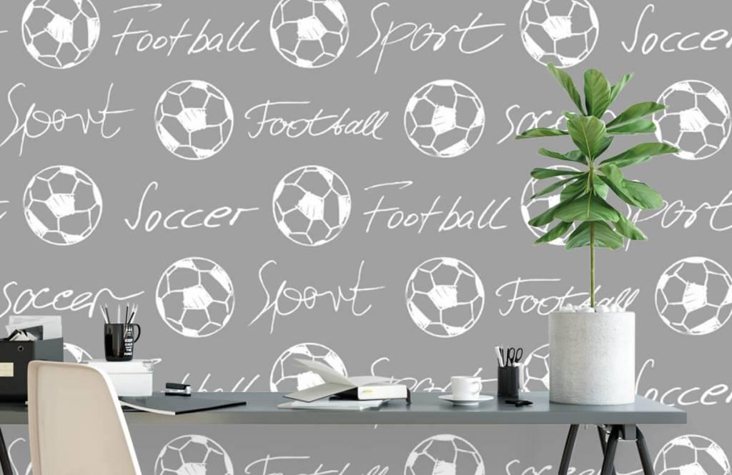 Papier peint de football - Ballons de football et texte - Chambre d'enfants 3