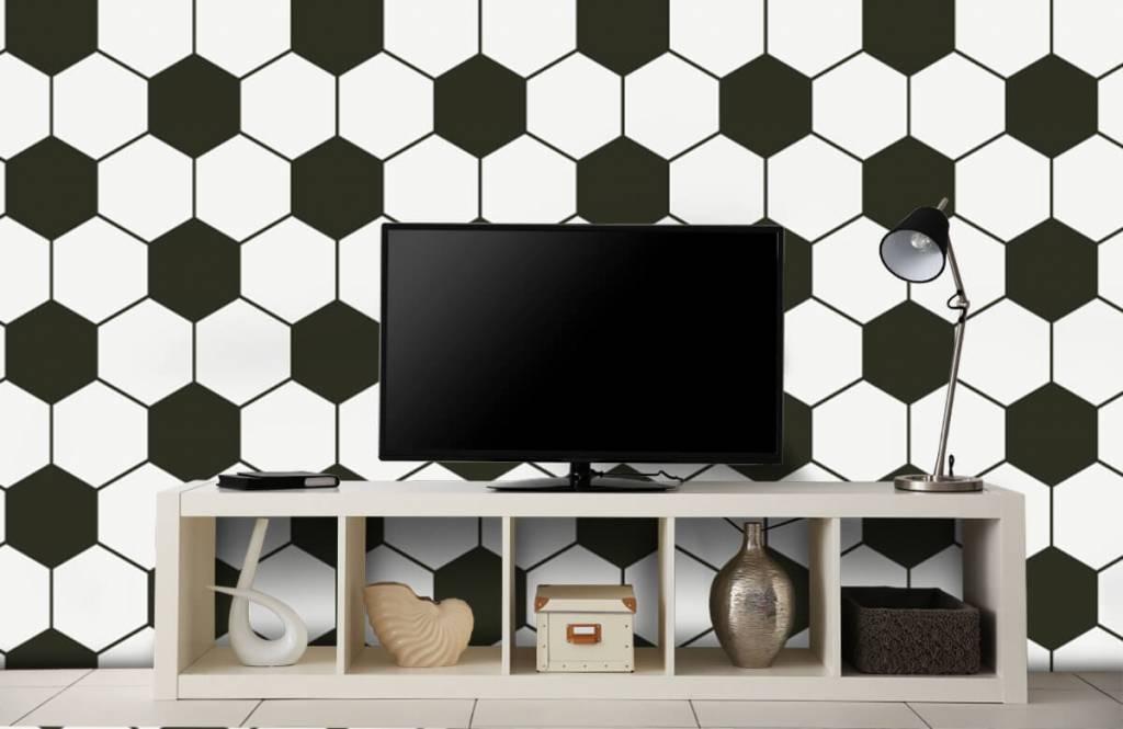 Papier peint de football - Polygones géométriques noir et blanc - Chambre d'enfants 1