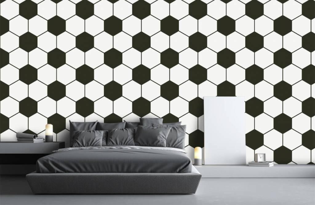 Papier peint de football - Polygones géométriques noir et blanc - Chambre d'enfants 3