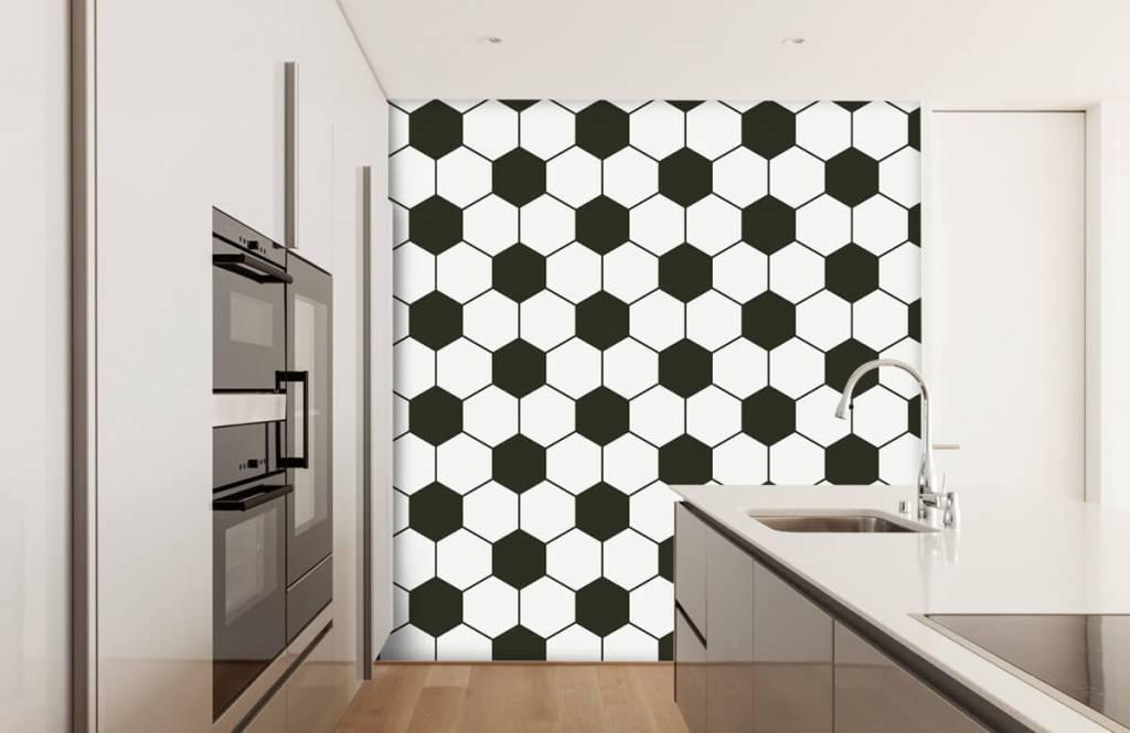 Papier peint de football - Polygones géométriques noir et blanc - Chambre d'enfants 4