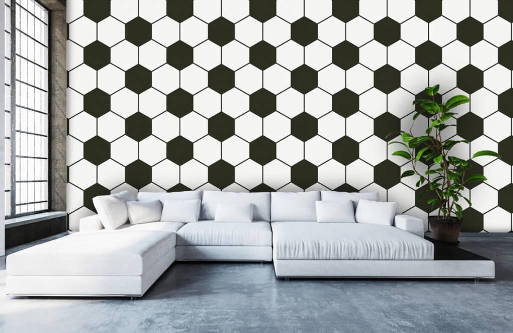 Papier peint de football - Polygones géométriques noir et blanc - Chambre d'enfants 5