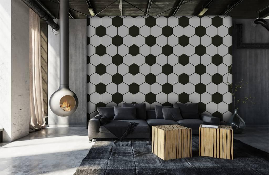 Papier peint de football - Polygones géométriques noir et blanc - Chambre d'enfants 6