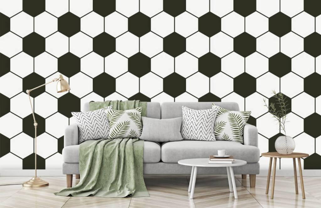 Papier peint de football - Polygones géométriques noir et blanc - Chambre d'enfants 7