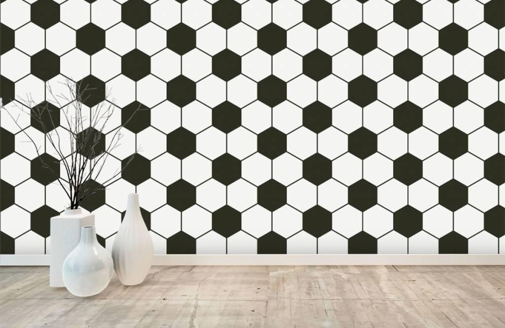 Papier peint de football - Polygones géométriques noir et blanc - Chambre d'enfants 8