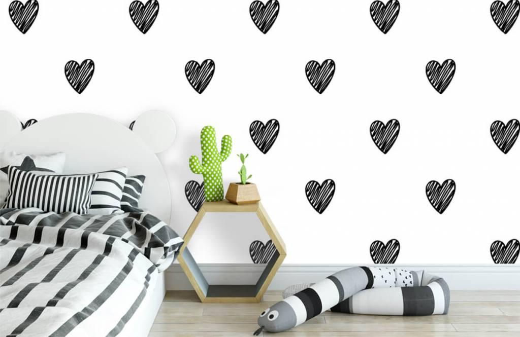 Papier peint noir et blanc - Coeurs noirs dessinés - Chambre d'enfants 1