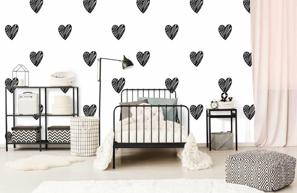 Papier peint noir et blanc - Coeurs noirs dessinés - Chambre d'enfants 2