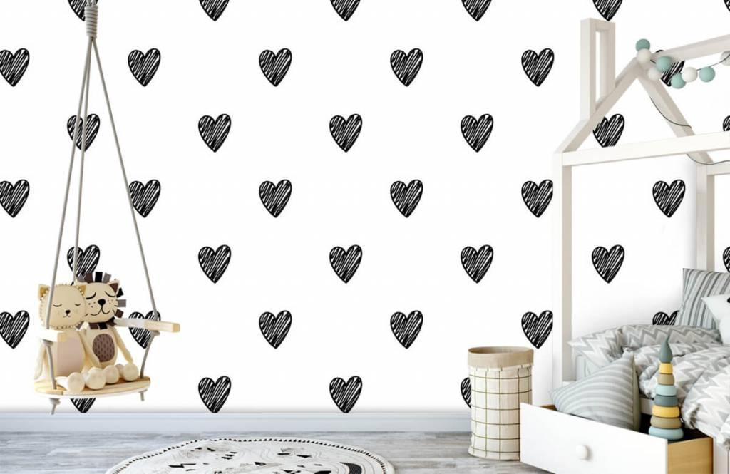 Papier peint noir et blanc - Coeurs noirs dessinés - Chambre d'enfants 3