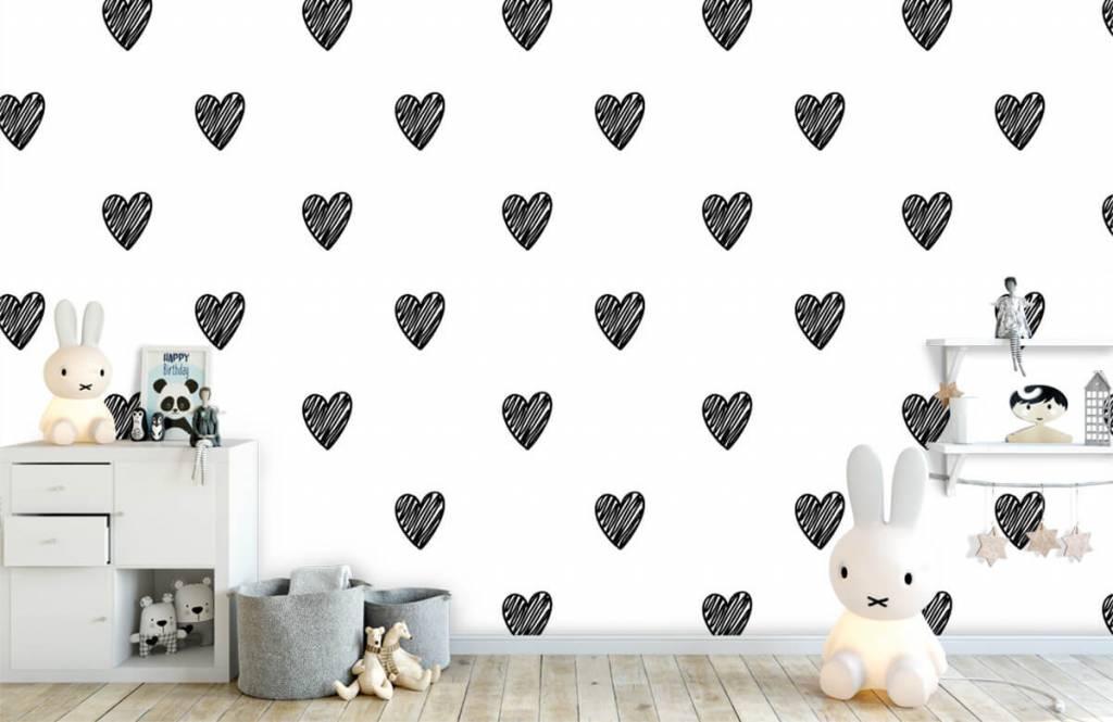Papier peint noir et blanc - Coeurs noirs dessinés - Chambre d'enfants 4