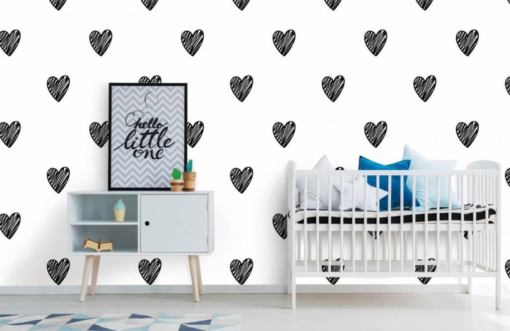 Papier peint noir et blanc - Coeurs noirs dessinés - Chambre d'enfants 6