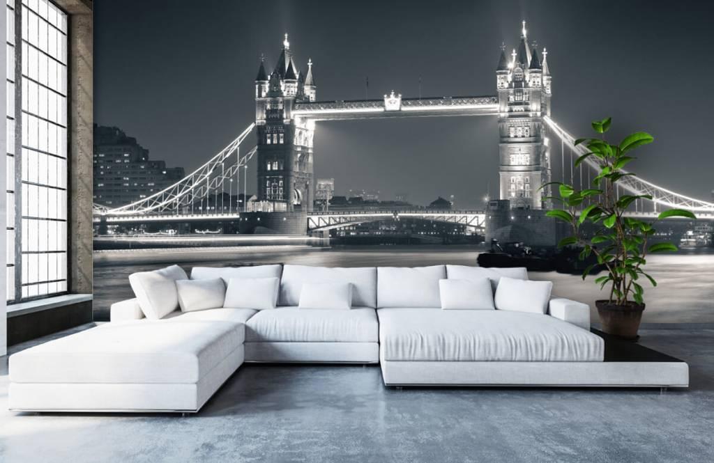 Papier peint noir et blanc - Tower Bridge - Chambre d'adolescent 1
