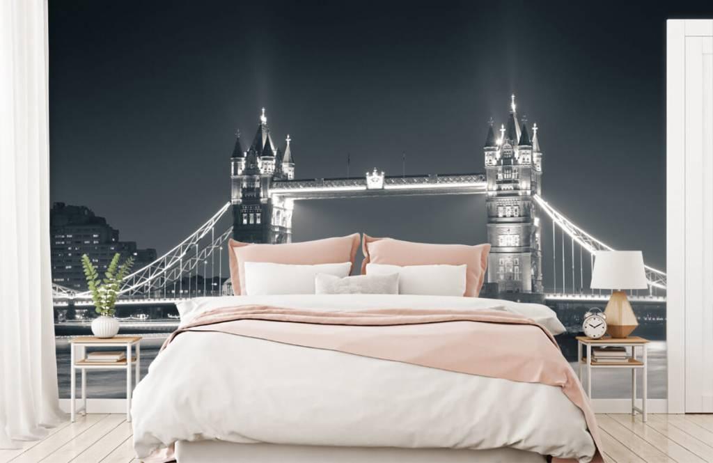 Papier peint noir et blanc - Tower Bridge - Chambre d'adolescent 2