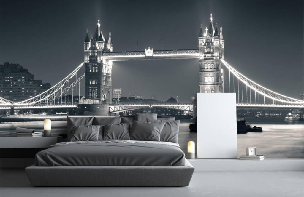 Papier peint noir et blanc - Tower Bridge - Chambre d'adolescent 3