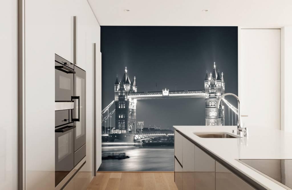 Papier peint noir et blanc - Tower Bridge - Chambre d'adolescent 4