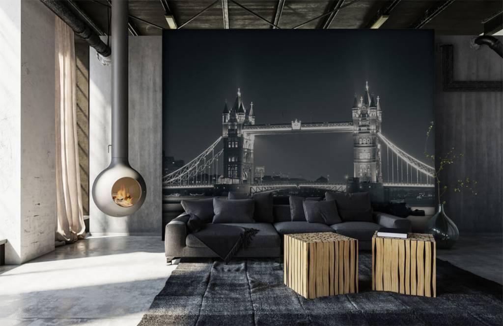 Papier peint noir et blanc - Tower Bridge - Chambre d'adolescent 6
