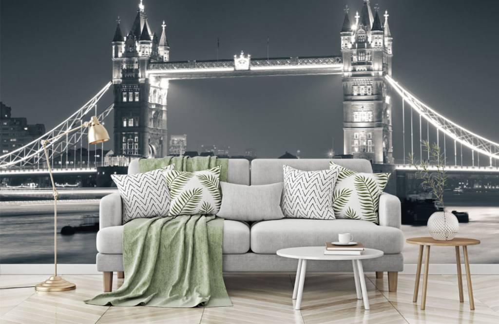 Papier peint noir et blanc - Tower Bridge - Chambre d'adolescent 7