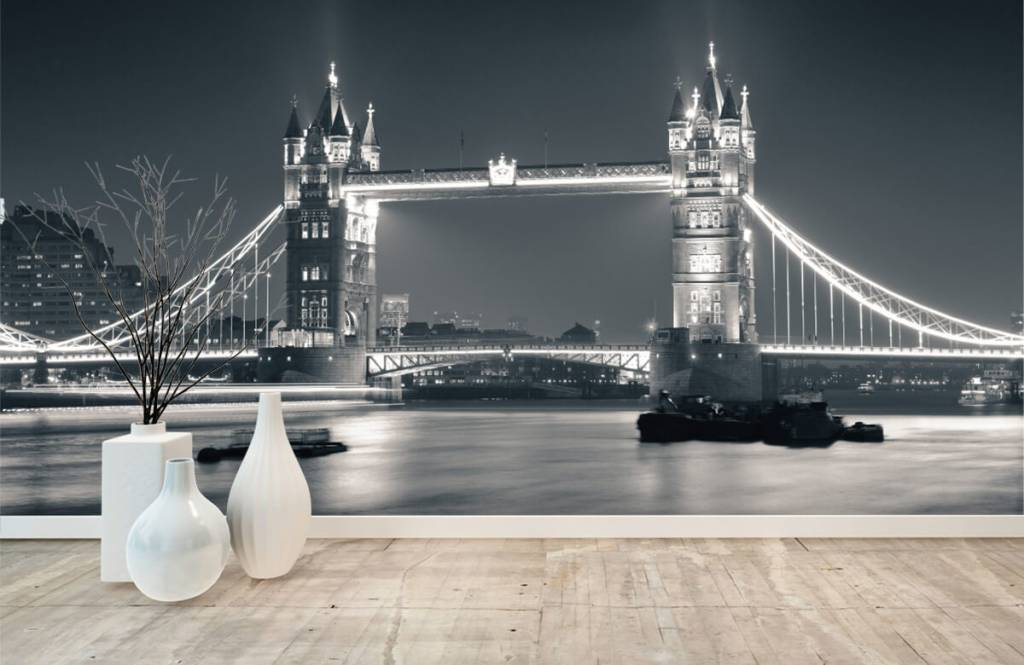 Papier peint noir et blanc - Tower Bridge - Chambre d'adolescent 8
