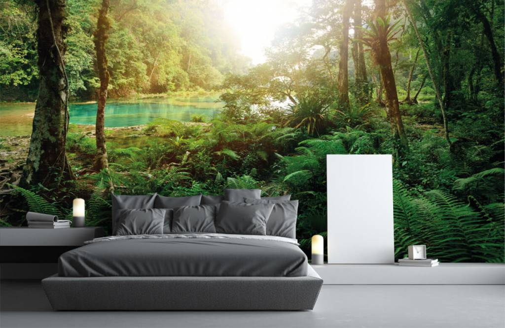 Papier peint de la forêt - Lac dans la jungle - Chambre à coucher 3