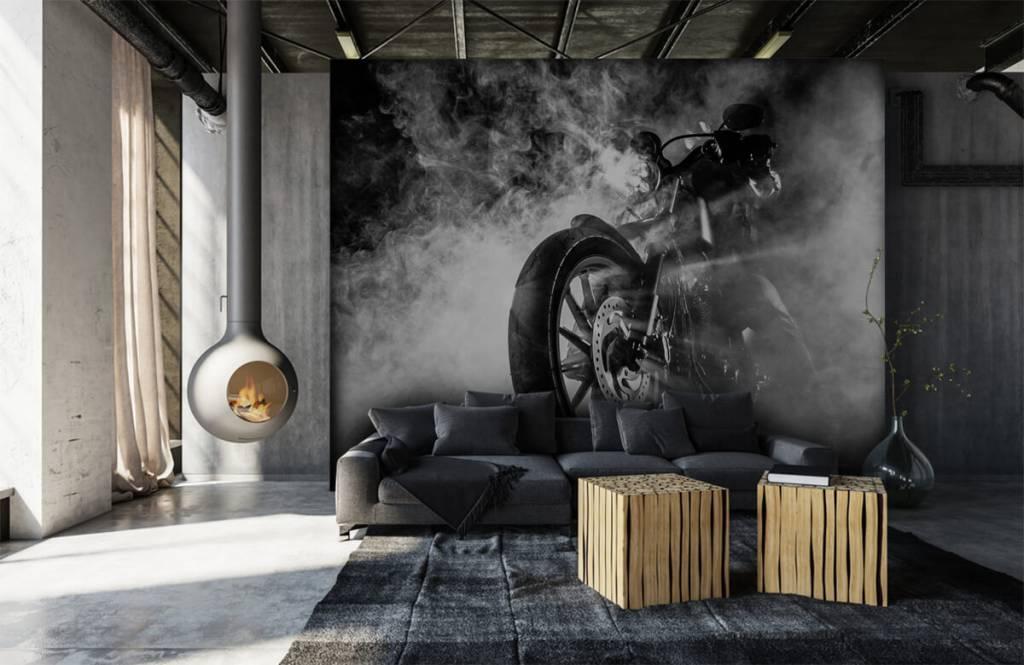 Papier peint noir et blanc - Moteur avec fumée - Chambre d'adolescent 1