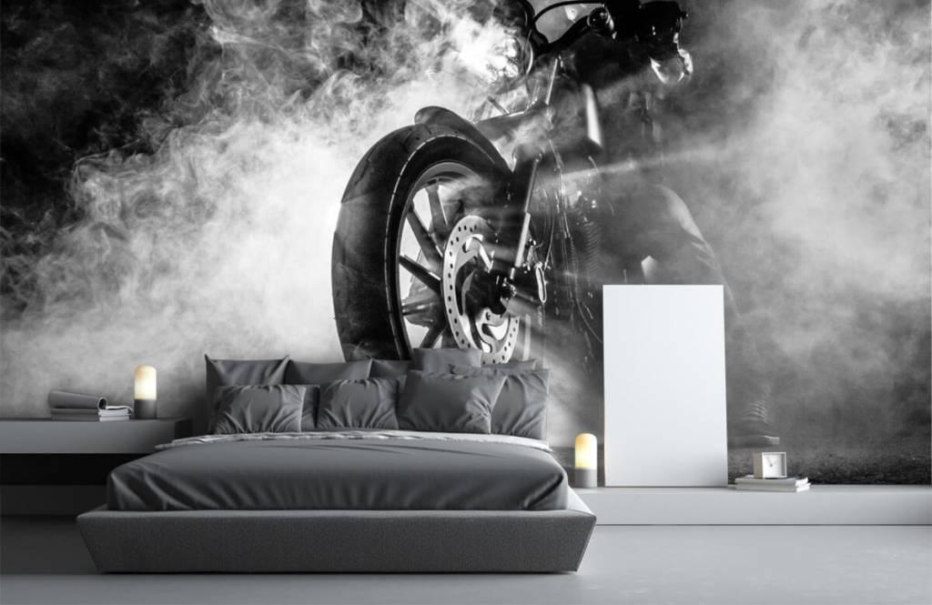 Papier peint noir et blanc - Moteur avec fumée - Chambre d'adolescent 2