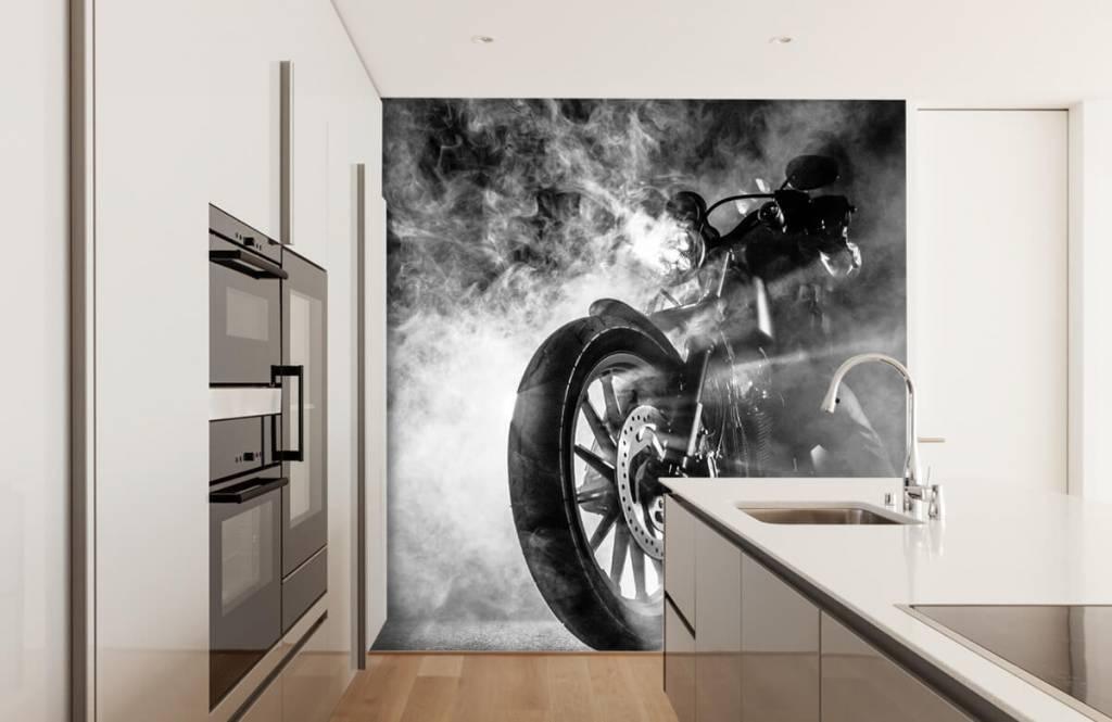 Papier peint noir et blanc - Moteur avec fumée - Chambre d'adolescent 4