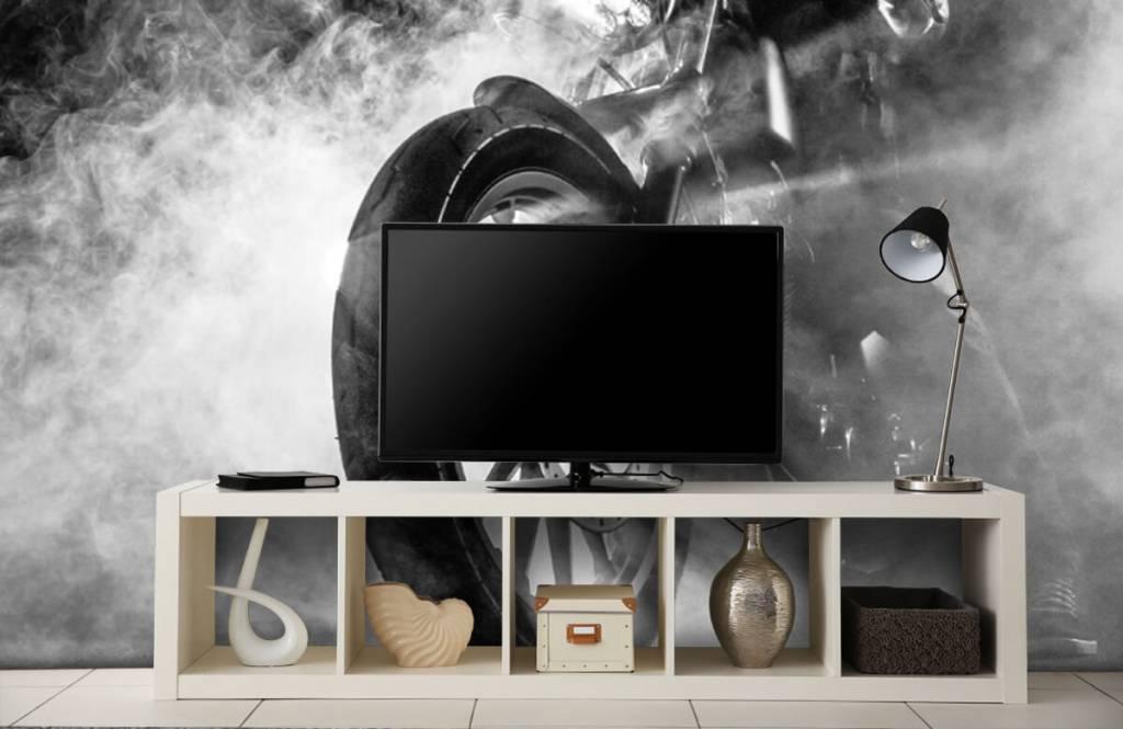 Papier peint noir et blanc - Moteur avec fumée - Chambre d'adolescent 5