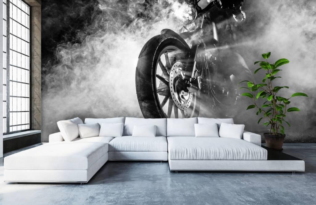 Papier peint noir et blanc - Moteur avec fumée - Chambre d'adolescent 6