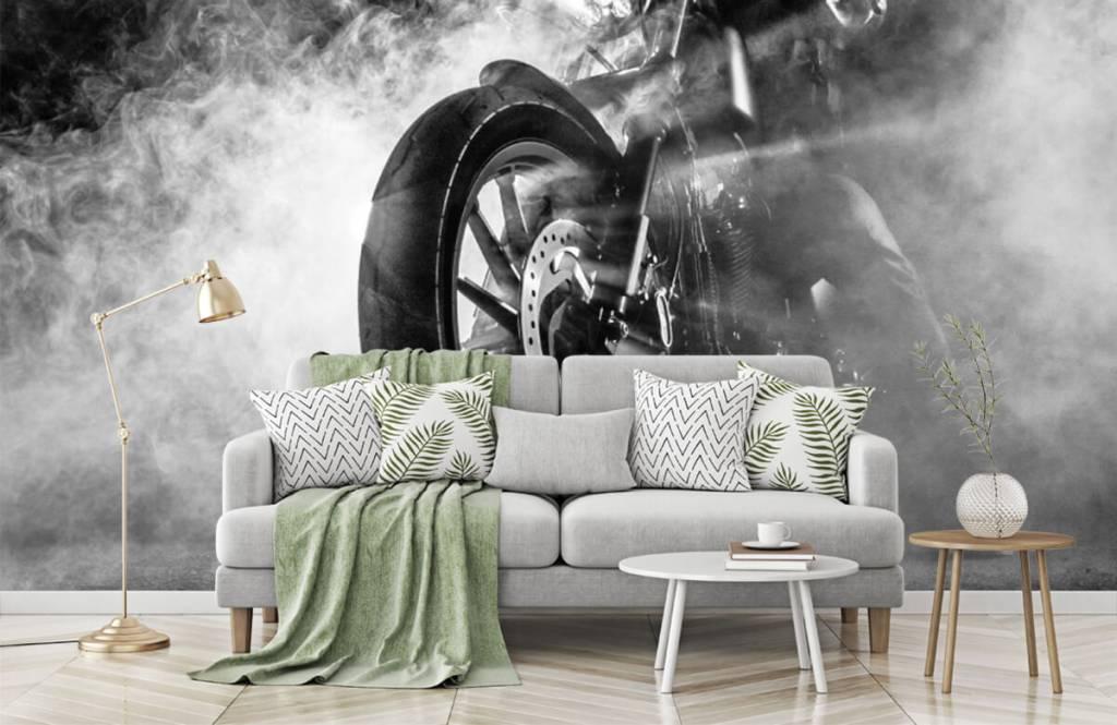 Papier peint noir et blanc - Moteur avec fumée - Chambre d'adolescent 7