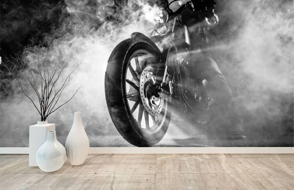 Papier peint noir et blanc - Moteur avec fumée - Chambre d'adolescent 8