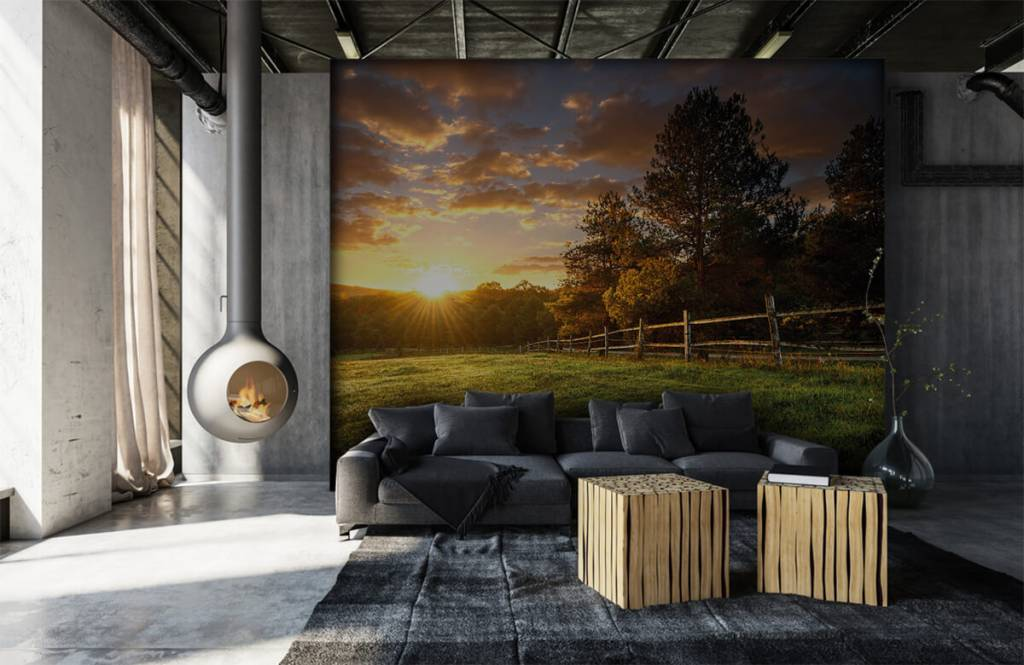Papier peint Paysage - Pâturage au coucher du soleil - Chambre à coucher 6