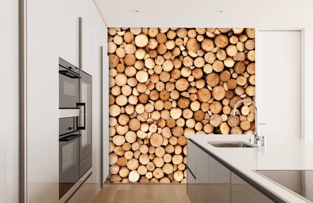 Papier peint bois - Bois de feu - Salle de séjour 1