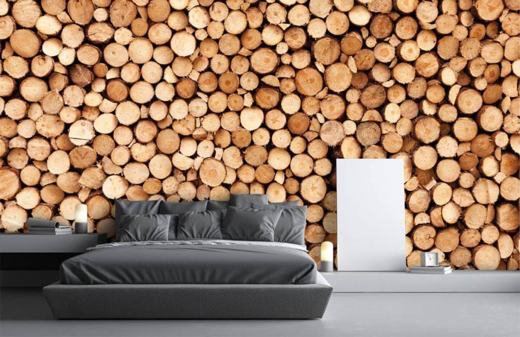 Papier peint bois - Bois de feu - Salle de séjour 4