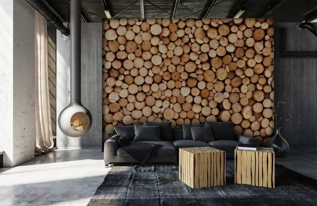 Papier peint bois - Bois de feu - Salle de séjour 5