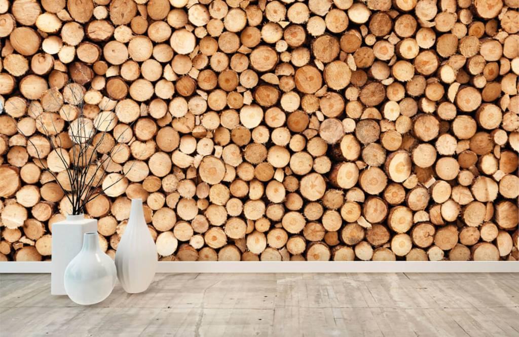 Papier peint bois - Bois de feu - Salle de séjour 8