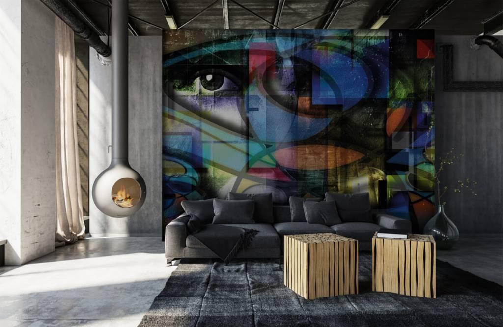 Papier peint moderne - Visage abstrait - Salle de séjour 1