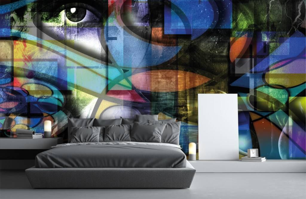 Papier peint moderne - Visage abstrait - Salle de séjour 2