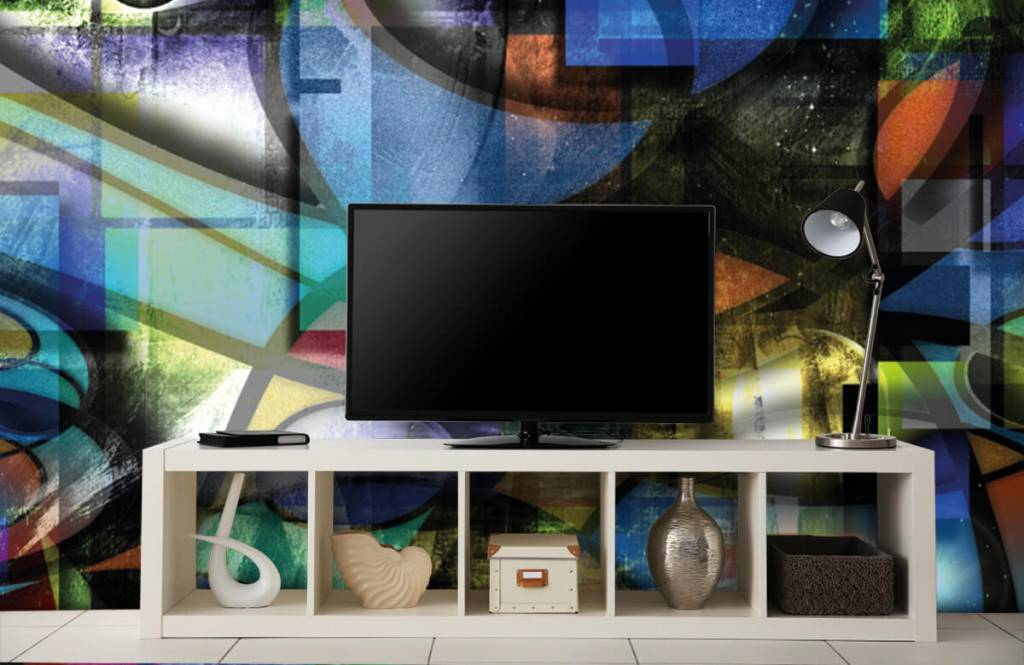 Papier peint moderne - Visage abstrait - Salle de séjour 3