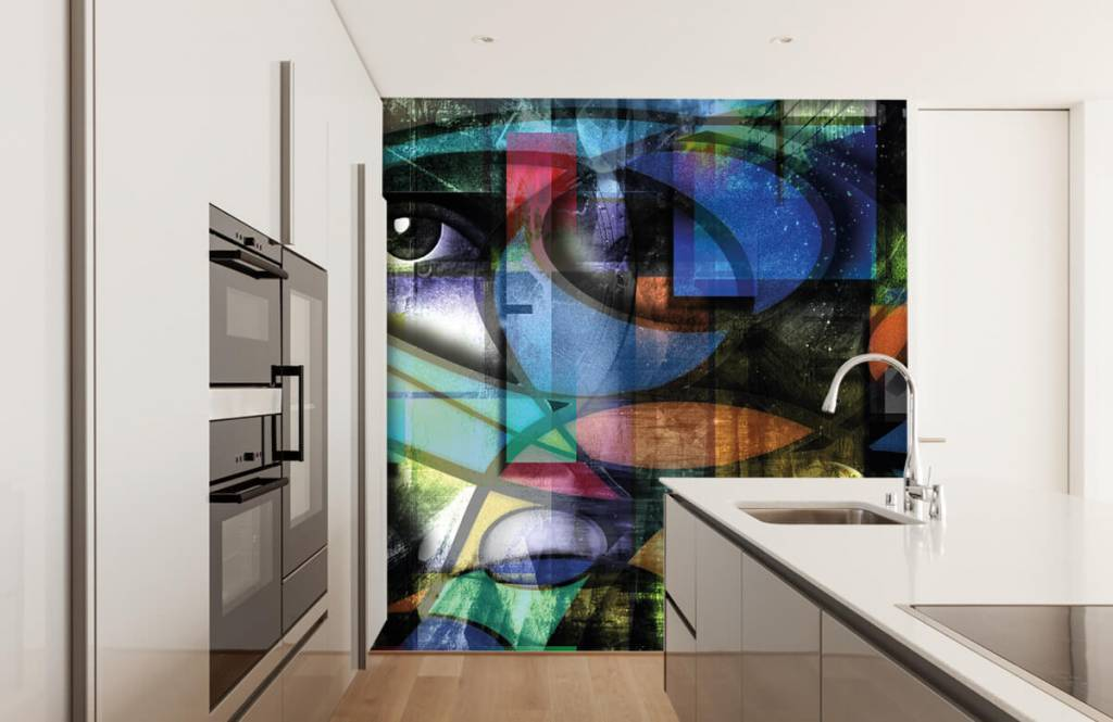 Papier peint moderne - Visage abstrait - Salle de séjour 4