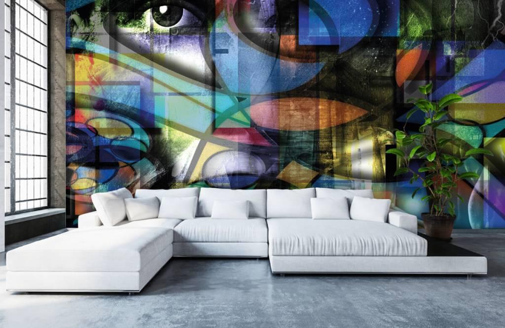 Papier peint moderne - Visage abstrait - Salle de séjour 6