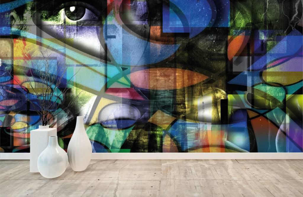 Papier peint moderne - Visage abstrait - Salle de séjour 8