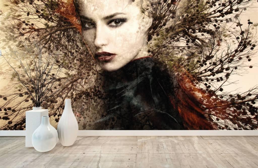Papier peint moderne - Femme et branches gracieuses - Chambre d'adolescent 1