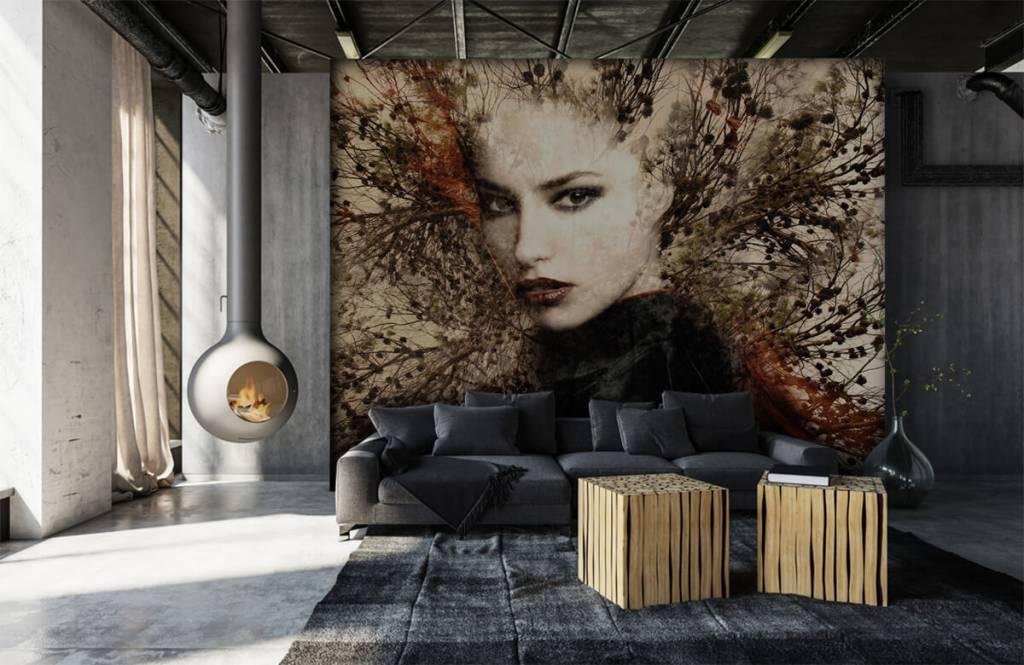 Papier peint moderne - Femme et branches gracieuses - Chambre d'adolescent 2