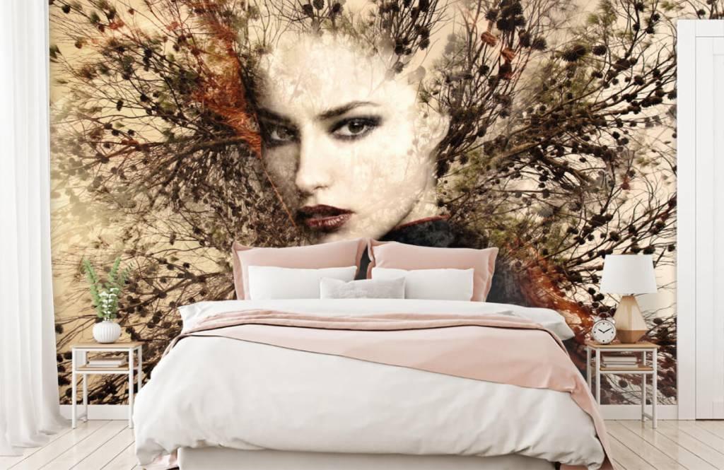 Papier peint moderne - Femme et branches gracieuses - Chambre d'adolescent 3