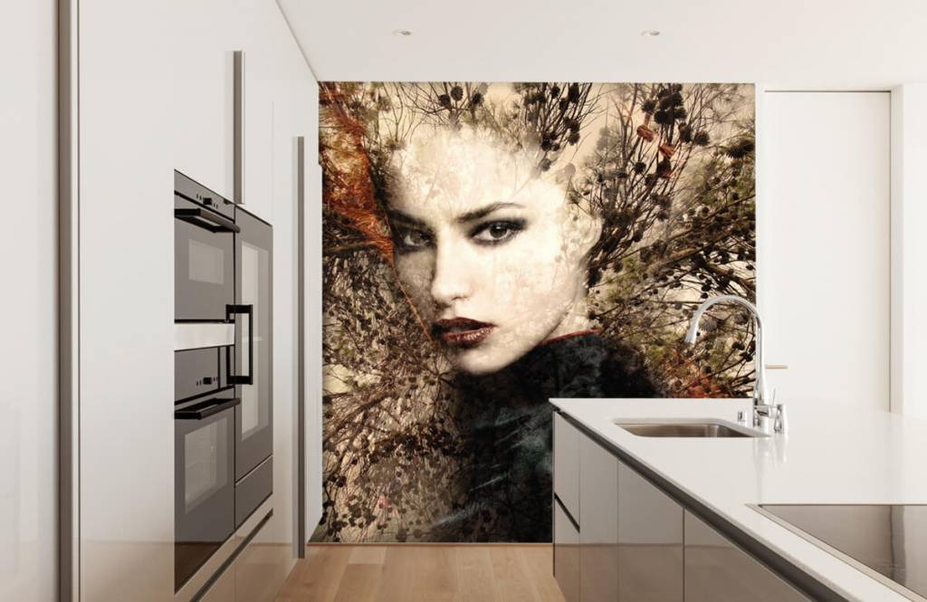 Papier peint moderne - Femme et branches gracieuses - Chambre d'adolescent 4