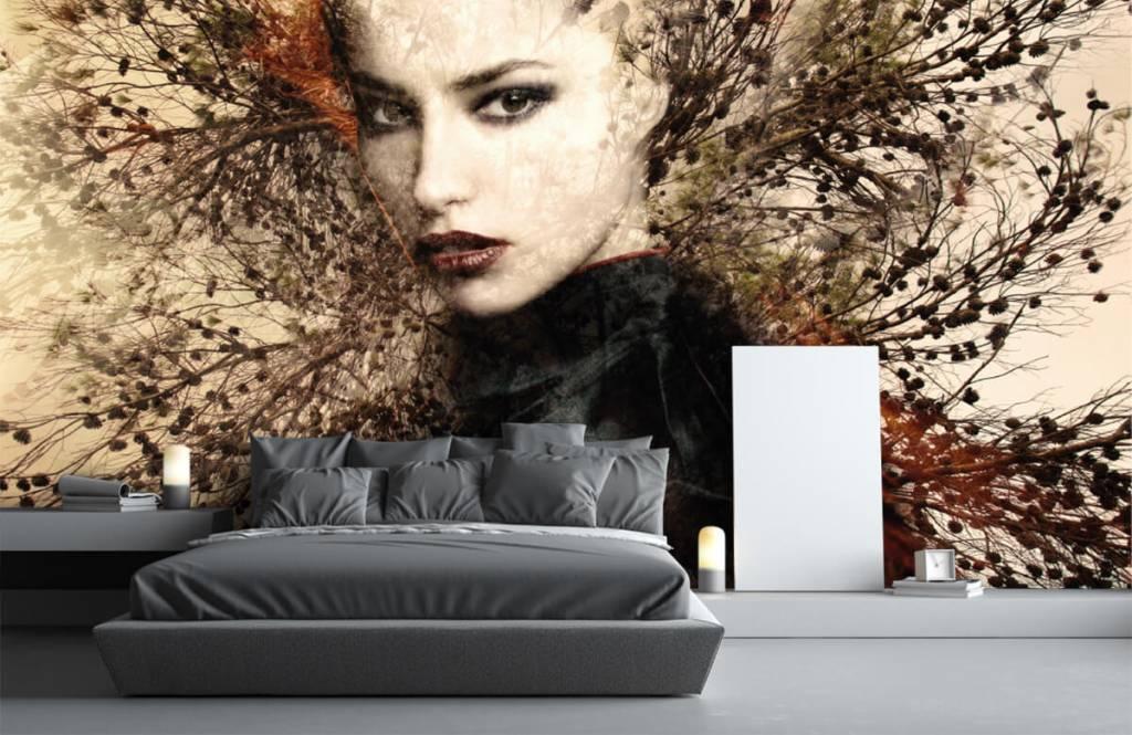 Papier peint moderne - Femme et branches gracieuses - Chambre d'adolescent 5
