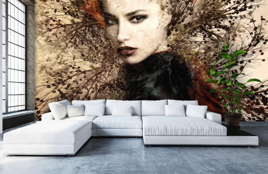 Papier peint moderne - Femme et branches gracieuses - Chambre d'adolescent 7