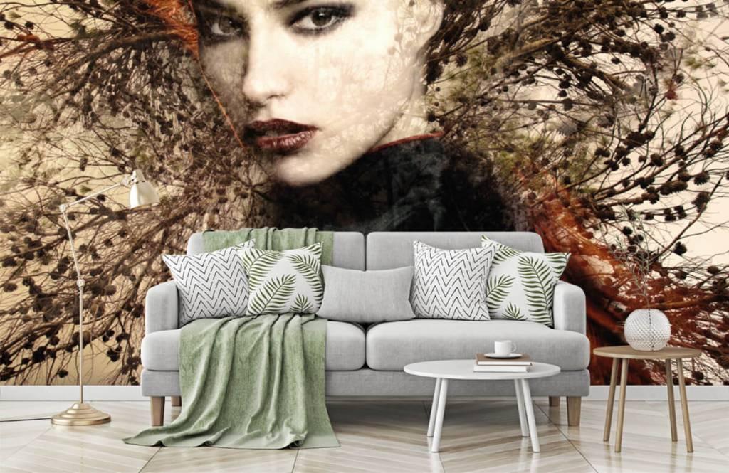 Papier peint moderne - Femme et branches gracieuses - Chambre d'adolescent 8