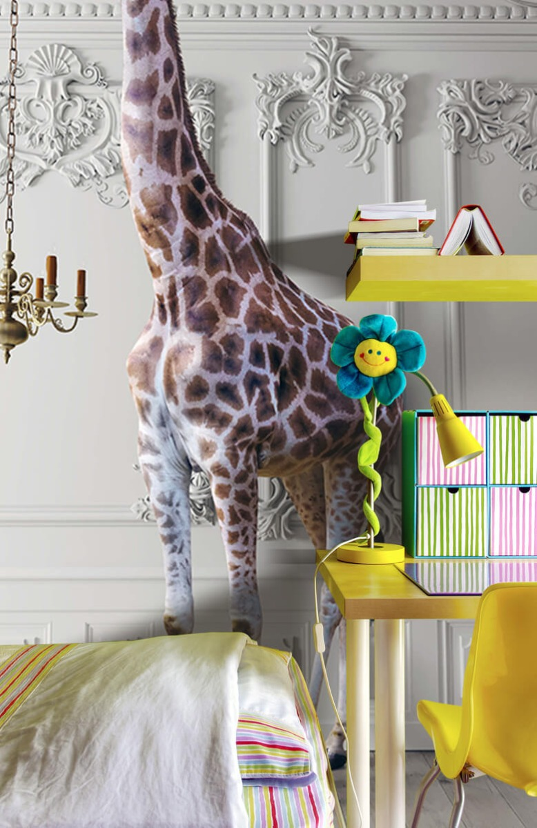 3D Girafe avec chandelier 3