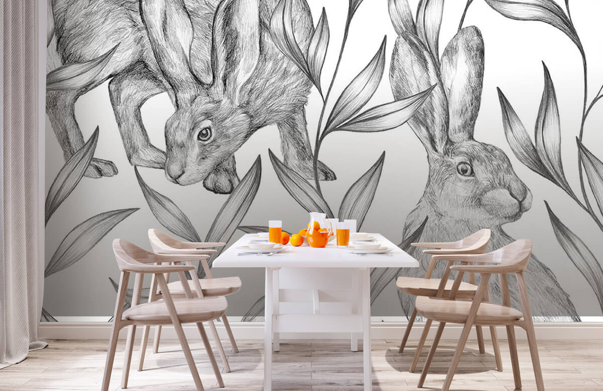 Pattern Motif lièvres en noir et blanc 3