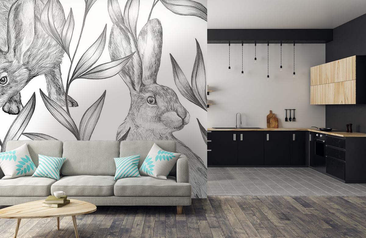 Pattern Motif lièvres en noir et blanc 10