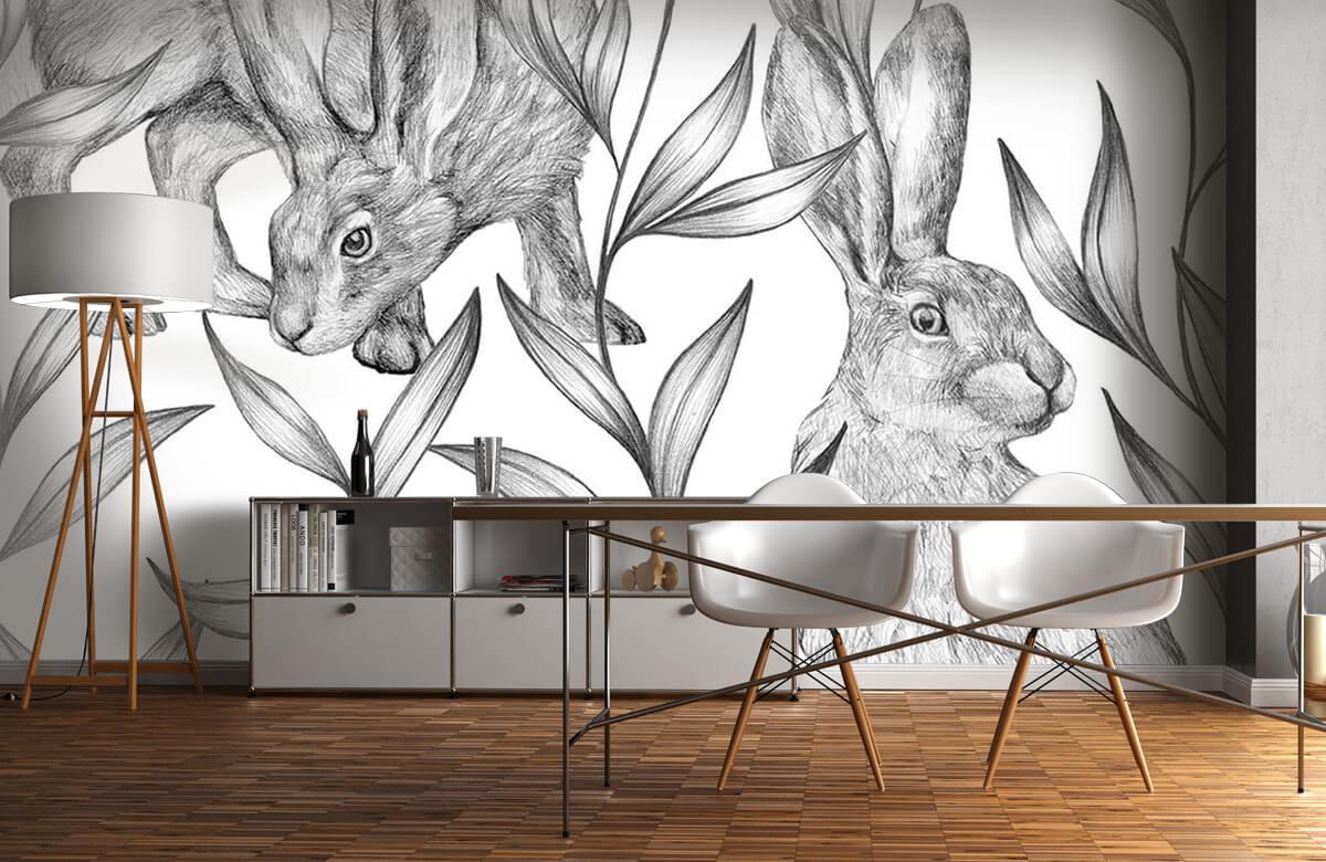 Pattern Motif lièvres en noir et blanc 2